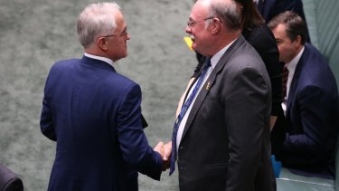Malcolm Turnbull with Warren Entsch after the introduction of the Plebiscite (Same-sex Marriage) Bill in September 2016.