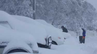 Falls Creek car park after a blizzard on Sunday.