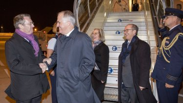 Malcolm Turnbull arrives at Le Bourget Airport in Paris ahead of the UN climate conference,  accompanied by his wife Lucy and welcomed by Australian ambassador in France, Stephen Brady.