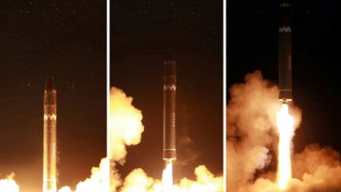 This combination of images provided by the North Korean government on Thursday shows the Hwasong-15 launch.