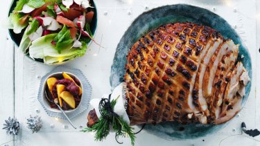 Andrew McConnell's stout, brown sugar, clove and orange glazed ham and summer salad.