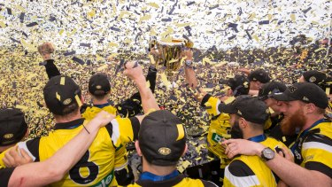 The premiership cup is raised at Richmond's Family Day at Punt Road Oval on Sunday,
