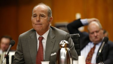 IOOF chief executive Chris Kelaher before the Senate inquiry on Tuesday.