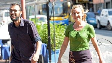 Councillor-elect Jonathan Sri and Senator Larissa Waters are celebrating the Greens' victory in The Gabba.