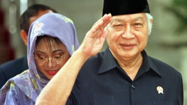 Former Indonesian President Suharto after announcing his resignation in May 1998.