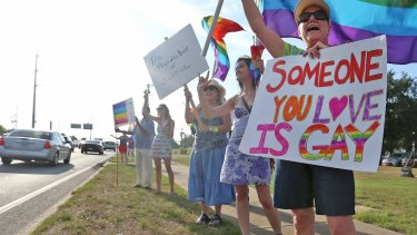 Same-sex marriage campaigners ahead of last year's historic Supreme Court ruling.