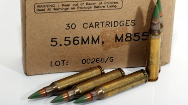 A move to ban green tip, cop-killer ammunition for pistols has been scuttled with the help of the NRA. Pictured: M855 5.56mm ammunition for rifles.