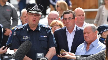 Chief Commissioner Graham Ashton addresses the media after the Bourke Street tragedy last year, in which six people died.