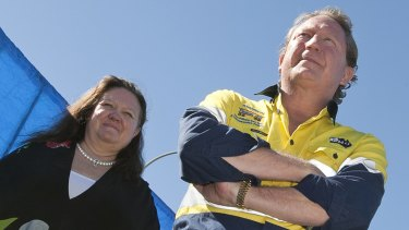 Gina Rinehart and Andrew Forrest campaign against the mining tax back in 2010.