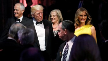 US President Donald Trump and first lady Melania Trump with Prime Minister Malcolm Turnbull and Lucy Turnbull in New York.