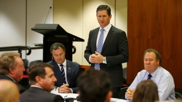 Opposition Leader Lawrence Springborg addresses the first LNP party room meeting since the Palaszczuk government was sworn in.