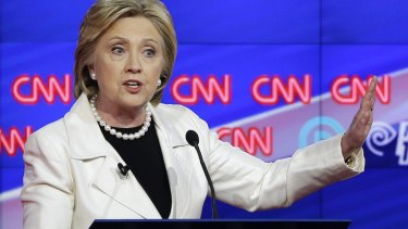 Hillary Clinton speaking during a debate hosted by CNN.
