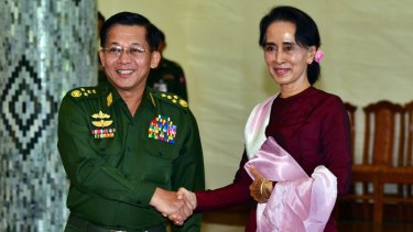 Aung San Suu Kyi meets and Myanmar's military commander-in-chief, General Min Aung Hlaing, last week.