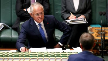 Prime Minister Malcolm Turnbull faces down Opposition Leader Bill Shorten.