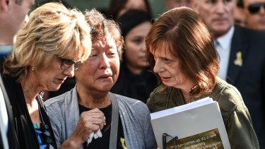 May 8, 2015: Helen Chan at the funeral for her son Andrew in Sydney.