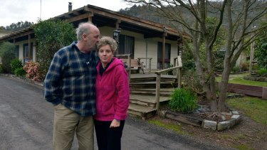 """Flowerdale residents Brenton and Lyn Gunter. """"It was just a blame game,"""" she says."""