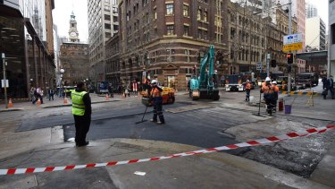 Repairs on York Street on Monday morning after a water main burst on Sunday night.