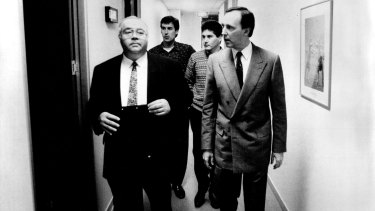 Laurie Oakes with then treasurer Paul Keating in 1991.