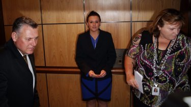 Playing coy: Senator Jacqui Lambie in Parliament House on Wednesday.