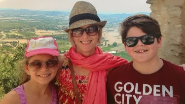 Juanita Phillips on holiday with Mischa and Marcus.