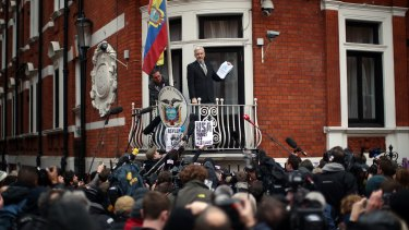 WikiLeaks founder Julian Assange speaks from the balcony of the Ecuadorian embassy last month.