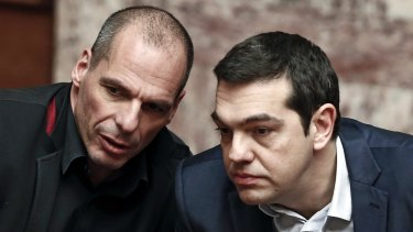 "Greek Finance Minister Yanis Varoufakis and Prime Minister Alexis Tsipras. Mr Varoufakis said it would be ""catastrophic"" if Greece left the euro."