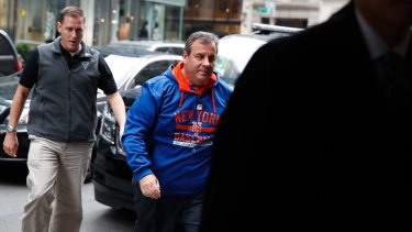 New Jersey Governor Chris Christie arrives at Trump Tower on Saturday.