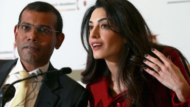 Lawyer Amal Clooney and former Maldivian President Mohamed Nasheed attend a press conference in London on Monday, in his first public comments since leaving jail in the Maldives.
