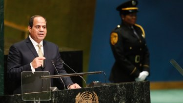 Main man: Egyptian President Abdel Fattah al-Sisi  addressing the UN General Assembly in September.