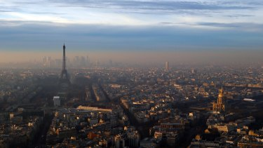 The Eiffel Tower and The Invalides dome, right, seen from Montparnasse on Wednesday.