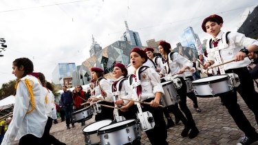 Here we are, Melbourne: The Australian Syrian Youth Marching Band make their public debut at Federation Square.