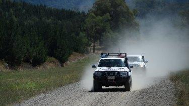 Police close roads near Lake Buffalo on Monday.