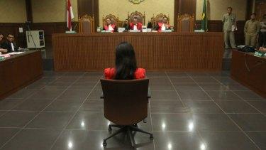 Wongso appears in court in Jakarta.