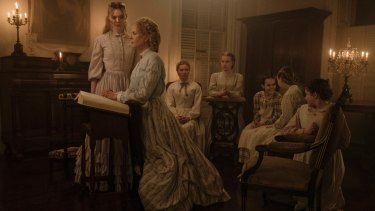 From left, Elle Fanning, Nicole Kidman, Kirsten Dunst, Angourie Rice, Oona Laurence, Emma Howard and Addison Riecke in 'The Beguiled'.