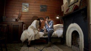 Olena Federova (Yelena) and Natascha Flowers (Sonia) rehearse  Uncle Vanya in a Steiglitz homestead.