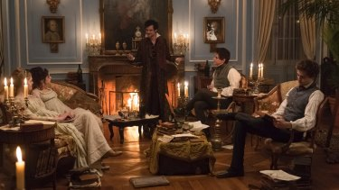 After-dinner horror: Mary Shelley (Elle Fanning), Claire Clairmont (Bel Powley), Lord Byron (Tom Sturridge), John Polidori (Ben Hardy) and Percy Shelley (Douglas Booth) in the film Mary Shelley.
