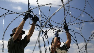 Hungarian soldiers place barbed wire near Morahalom, Hungary on Thursday.