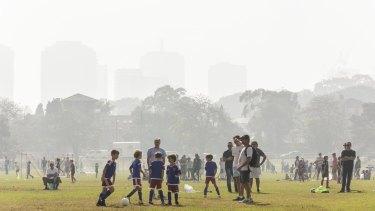 Thick smoke blankets Sydney.