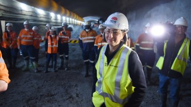 Premier Gladys Berejiklian at a new section of tunnel for the WestConnex toll road.