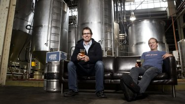 Cam Hines (left) and Dave Bonighton, of  Mountain Goat Brewery in Richmond, Melbourne, have sold their business to Asahi.