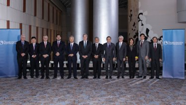 Signatories to the TPP include Australia, Brunei, Canada, Chile, Japan, Malaysia, Mexico, New Zealand, Peru, Singapore and Vietnam. Since this 2015 photo the US has backed out.