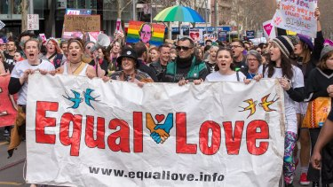A call for equality at the Melbourne rally.