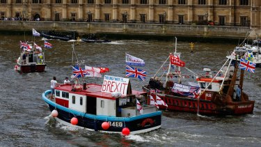 """A flotilla of """"leave"""" and """"remain"""" campaigners took to the Thames River in London last week."""
