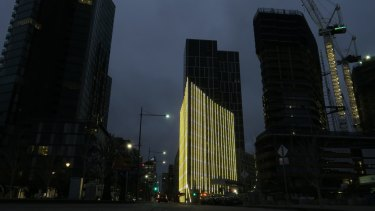 The building as night falls.