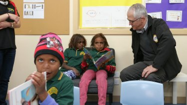 Prime Minister Malcolm Turnbull speaks to students at the Yalata Anangu School in South Australia.