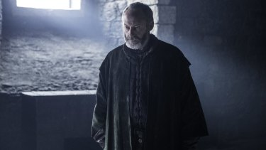 Ser Davos threatens to kill the red witch over Shiren in The winds of Winter.