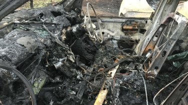 The inside of the first car that caught alight.
