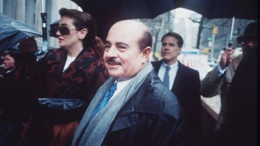 Adnan Khashoggi arrives at Manhattan Federal Court, New York in 1990.