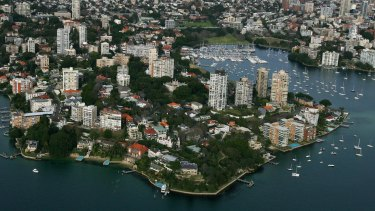 Aerial view of Darling Point and Rushcutters Bay.