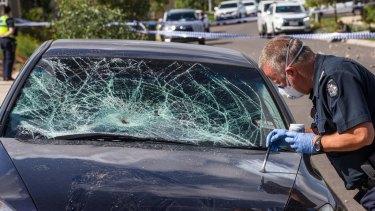 Forensic police investigate a damaged car in Attunga Grove.
